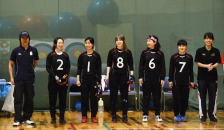 女子チーム、市川ヘッドコーチ(写真一番左)、キャプテン浦田選手(左から2人目)