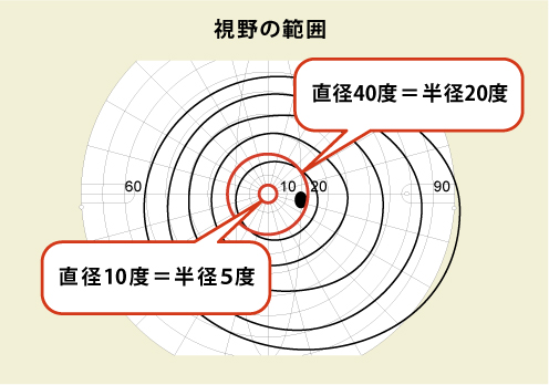 視野の範囲(ゴールドマン視野計で、Ⅲ/4eの視標を用いて測定したもの)