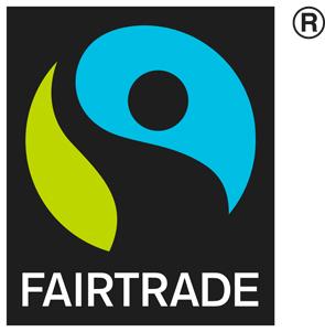 国際フェアトレード基準を守った商品に貼付される国際フェアトレード認証ラベル