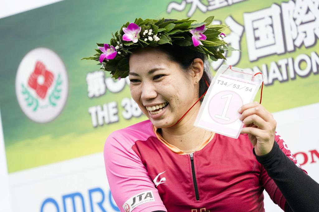 女子優勝の喜納。新しいレーサーで挑み、自己ベストを更新した。