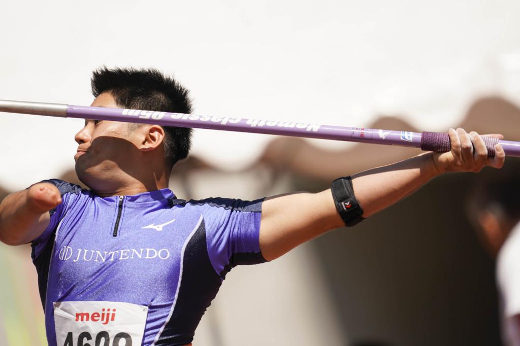 やり投げ(男子F46) 山崎晃裕選手 1位 56m76 大会新記録