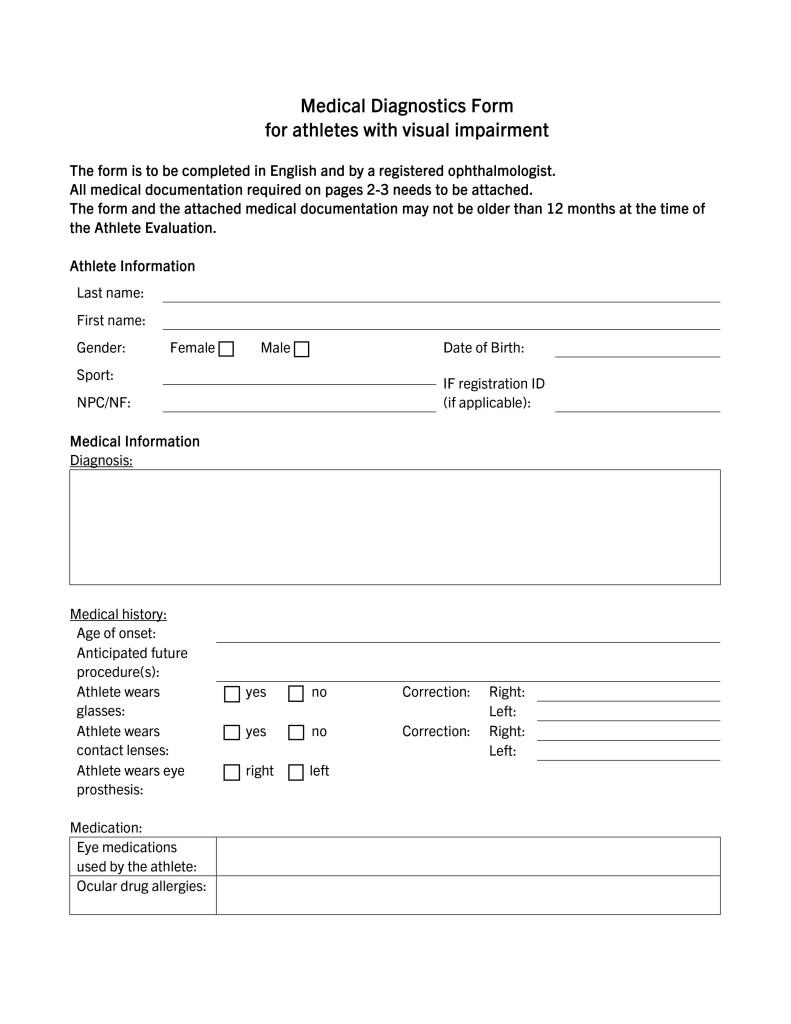 資料1:視覚障がい者のクラス分けで必要になるMDFの例 (Medical Diagnostics Form for athletics with visual impairment)